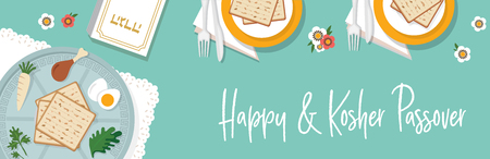 traditional passover table for Passover dinner with passover plate. vector illustration template banner design Ilustracja