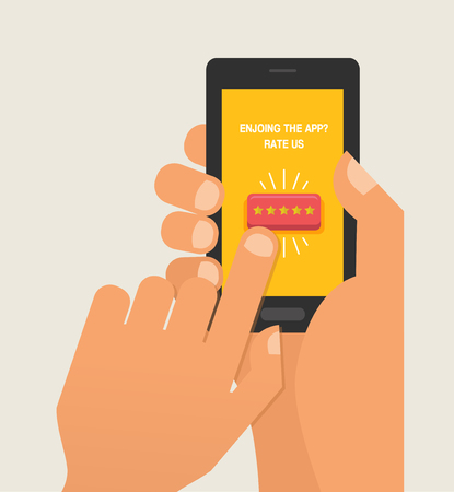 We want your Feedback illustration concept. Hand want to give five star rating on smartphone. Stockfoto - 96862795