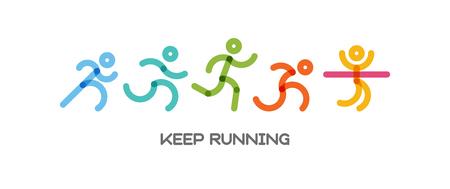 Conjunto dinámico de personas corriendo. Ilustración de deporte y estilo de vida saludable para su diseño. competencia y acabado. ilustración vectorial