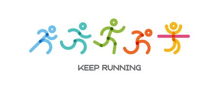 Dynamisch rennende Menschen setzen. Sport und gesunde Lebensstilillustration für Ihr Design. Wettbewerb und Ziel. Vektor-Illustration