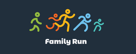 Family run race. Colorful runners icon for running competition. Vector illustration.