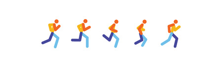 Running and jogging people. Sport run people silhouette, illustration run and jogging people. Running motion. Vector illustration. Vectores