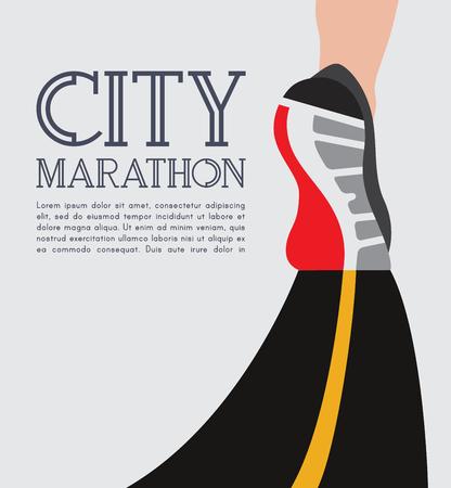 city running marathon. athlete runner feet running on road closeup. Vector illustration. Vettoriali