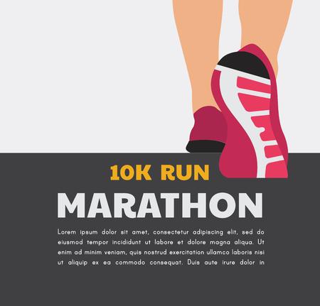 athlete runner feet running or walking on road. running poster template. closeup Vector illustration.