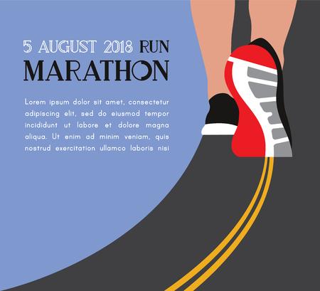 Athlete runner feet running on road closeup on shoe. woman fitness sunrise jog workout wellness concept. Vector illustration. Stock Illustratie