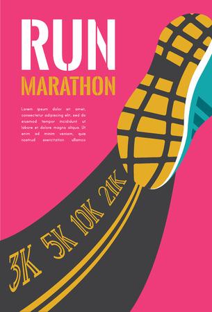 ciudad corriendo maratón. Pies de atleta corredor corriendo en carretera closeup. Ilustración vectorial Ilustración de vector