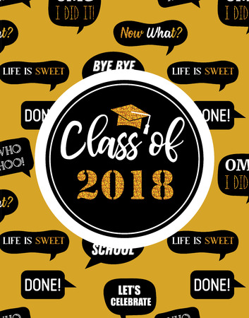 Graduation Class of 2018, party invitation, poster or banner template. vector illustration