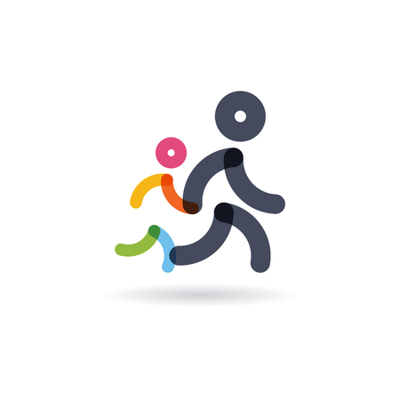 family run race. colorful Runners.logo for running competition. vector illustration