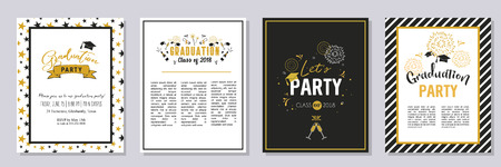 Graduation Class of 2018 greeting card and invitation template. Vector party invitation. Grad poster. vector illustration