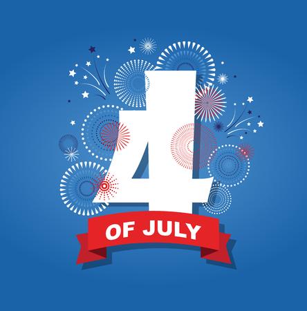 4th july fireworks background. celebration usa independence day symbol of united states freedom, patriotic holiday. vector illustrtion Illustration