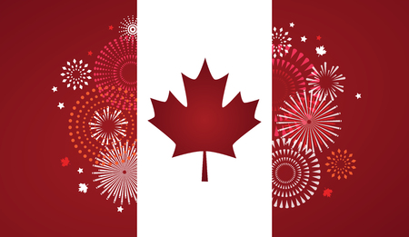 Maple leaf with firework poster for celebrate the national day of Canada. Happy Canada Day card. Canada flag, fireworks, red maple leaf. Illustration