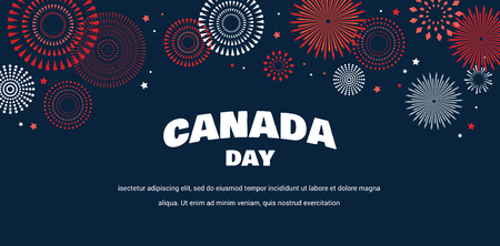 Celebrate banner of the national day of Canada. Happy independence day card. Ilustração