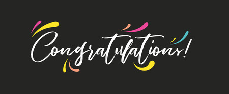 Congrats, Congratulations banner. Handwritten modern brush lettering dark background isolated vector