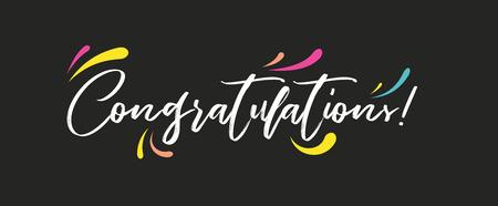 Felicitaciones, pancarta de felicitaciones. Pincel moderno manuscrito letras vector aislado fondo oscuro
