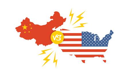 wojna handlowa, Ameryka Chiny taryfa biznes globalna wymiana międzynarodowa. USA kontra Chiny Ilustracje wektorowe