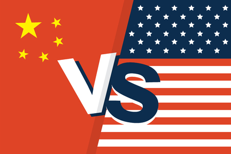United States of America flag and China flag together. two flags face to face, symbol for the relationship between the two countries. vec Stock Illustratie