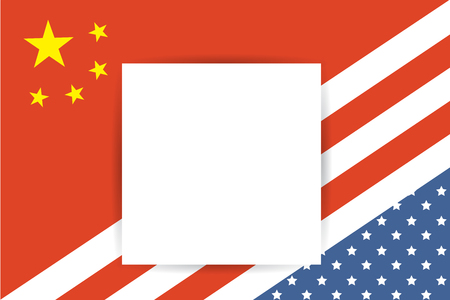 United States of America flag and China flag together with place for your text