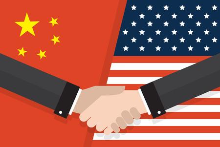 Twee zakenlui handdruk na goede deal voor een Amerikaanse en Chinese vlag. twee vlaggen face to face, symbool voor de relatie tussen de twee landen.