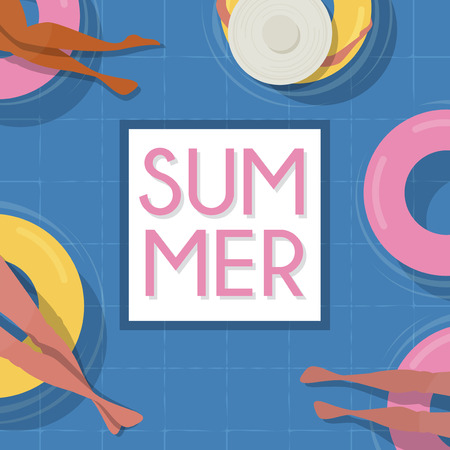 Top view Pool background. people relaxing in the pool. Summer water activities. Vector banner, poster illustration design