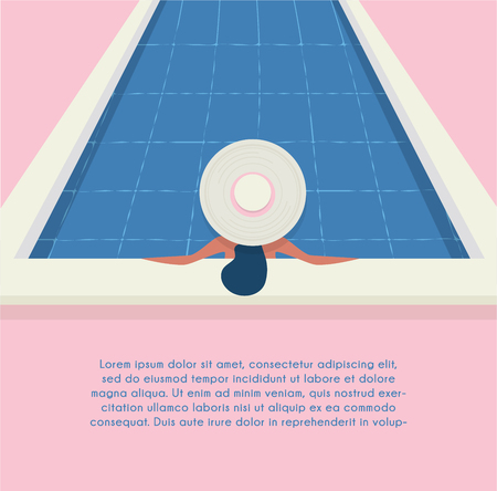 A young beautiful woman in a hat relaxes at the swimming pool. Wellness concept. Spa and relax, woman happiness