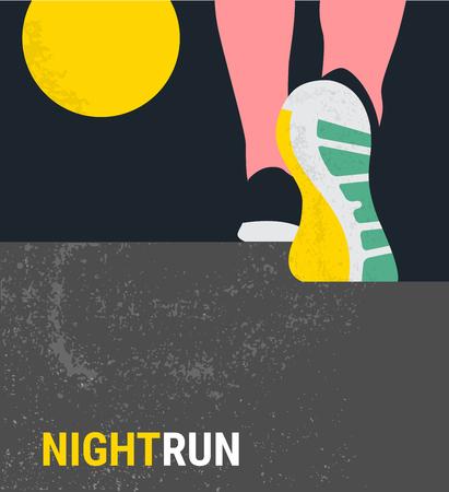 athlete runner feet running or walking on road . running poster template. closeup illustration vector. nigth run marathon Stock Illustratie