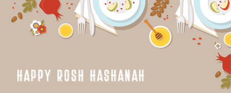 traditional table for Rosh Hashanah, Jewish new year, dinner with traditional symbols. vector illustration template banner design