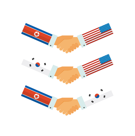 Representatives of the USA, South and North Korea shake hands. Korea peace talks. vector illustration
