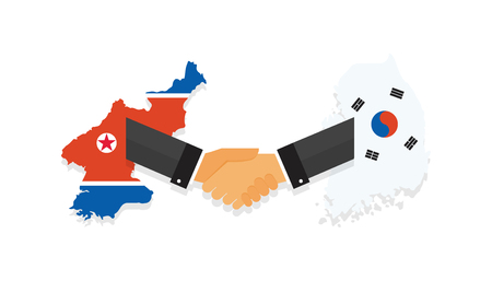 Representatives of the South and North Korea shake hands. Korea peace talks. South and North Korea flags on map. vector illustration