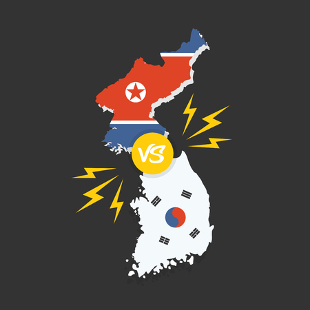 Korean conflict. South and North korean flags on glossy speech bubble. Concept of the asian crisis and competition Illustration