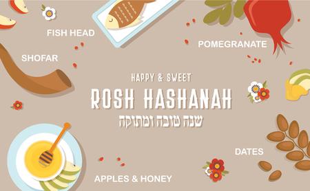 symbols of Jewish holiday Rosh Hashana, New Year. Infographic poster. vector template. happy and sweet new year in Hebrew, Shana tova. Illustration