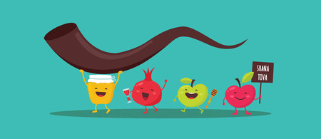 Rosh Hashanah Jewish holiday banner design with honey jar, apple and pomegranate funny cartoon characters holding shofar , Jewish horn. Vector illustration design