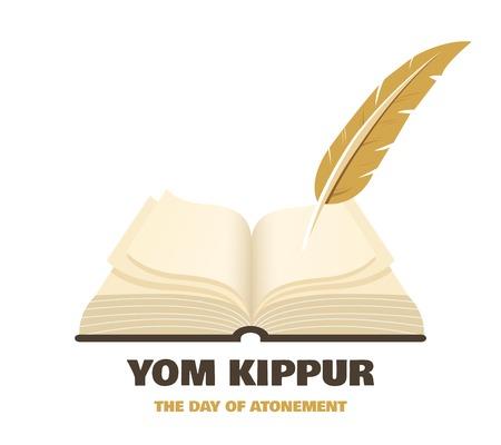 Puissiez-vous être inscrit dans le livre de la vie pour de bon en hébreu. Ancien livre un symbole de la fête juive Yom Kipur. illustration vectorielle Vecteurs