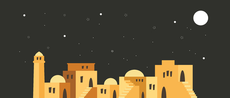 skyline of old city of Jerusalem over a night scene. vector illustration