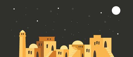 skyline van de oude stad van Jeruzalem over een nachtscène. vector illustratie