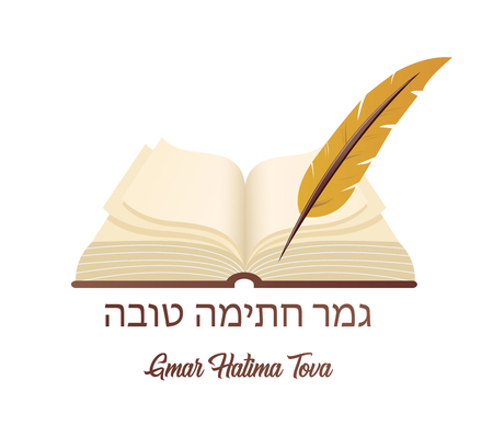 May You Be Inscribed In The Book Of Life For Good in Hebrew. Ancient book a symbol of Jewish holiday Yom Kipur.