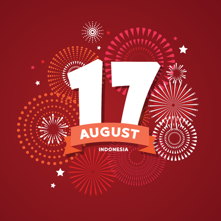 17 of August on firework background. poster for celebrate the national day of Indonesia. Happy independence day card.