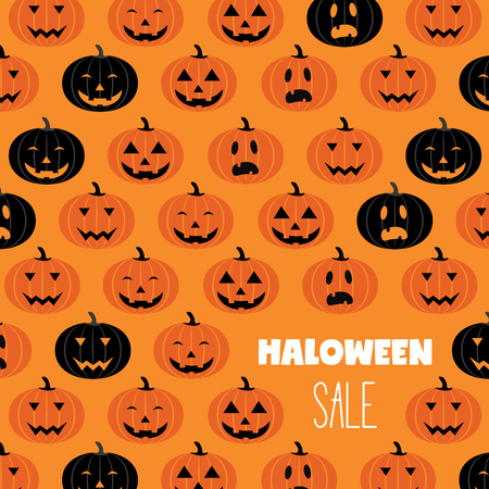 Halloween scary pumpkins pattern sale poster. Great for voucher, offer, coupon, holiday sale. vector illustration Stock Photo