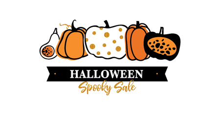 Halloween Sale vector banner with lettering and detailed engraving background. Pumpkin, witch hat, skull, cat hand drawn elements. Great for voucher, offer, coupon, holiday sale. vector illustration Illustration