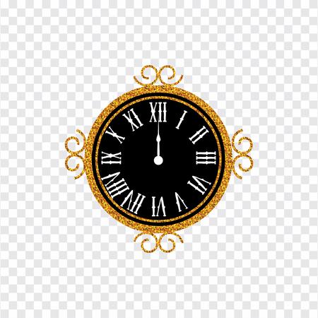 Bonne année 2019. carte de voeux. Fond de nouvel an avec horloge en or. illustration vectorielle Vecteurs