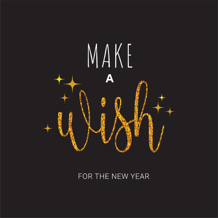 Vector greeting card with Make a wish inscription on black background. Can be used for cards, flyers, posters, t-shirts.