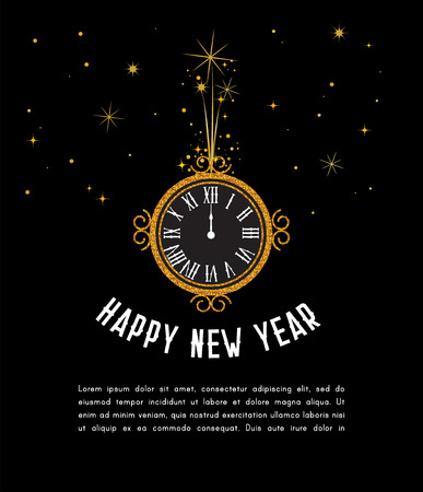Happy New Year 2019. greeting card . New Year background with gold clock. vector illustration