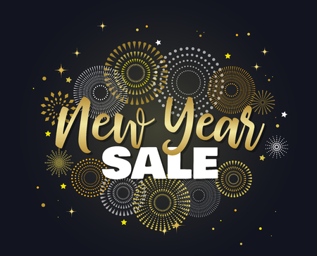 Sale banner background for New Year shopping sale. New year sale on sky full of gold fireworks. Design with for web online store or shop promo offer Illustration