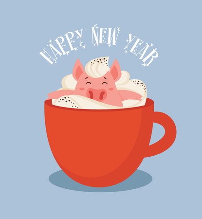 Happy Chinese New Year greeting card , year of a pig. Cute and funny piglet chilling in a cup of winter drink. Excellent for the design of postcard, poster, sticker, banner and so on. vector illustration