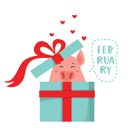 Vector illustration of cute cartoon pig getting out of a present box . Symbol of the new year 2019 for calendar, web, site, greeting card, valentine day poster. Vector Illustration