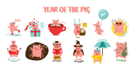 Monthly creative calendar 2019 with cute pig. Symbol of the year in the Chinese calendar. Cartoon. Isolated. Vector