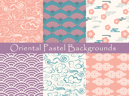 set of chinese vector seamless patterns. Endless texture can be used for wallpaper, pattern fills, web page background,surface textures.