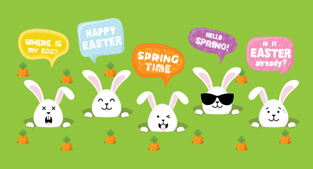 Easter Bunnies with greeting speech bubbles- Vector illustration