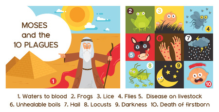 Passover Ten Plagues of Egypt with Moses - Vector illustration