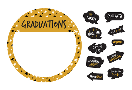 graduation party photo booth elements -vector illustration