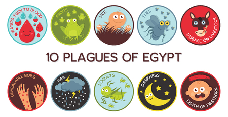 Passover Ten Plagues of Egypt cartoon- Vector illustration